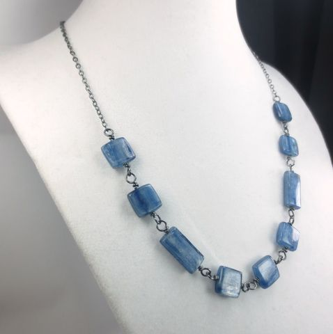 Silvery,Blue,Kyanite,Necklace,,19.5,inch,Argentium,Sterling,Silver,,Oxidized,kyanite necklace, blue necklace, gemstone necklace, blue gemstone necklace, healing crystal, crystal healing, energy, chakra, 5th chakra, throat chakra
