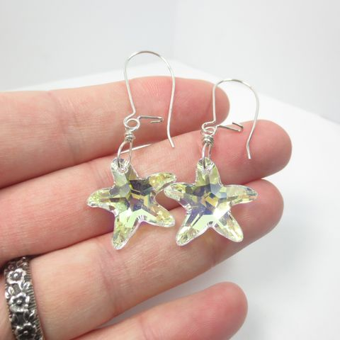 Swarovski,Starfish,Dangle,Earrings,,Hypo,Allergenic,Argentium,Silver,Kidney,Ear,Wires,,Crystal,Girls,Jewelry,everyday earrings,   swarovski earrings ,  Swarovski Crystal ,  Hypo Allergenic,   wedding jewelry   ,nickel free earrings ,  dangle earrings  , bridal earrings , crystal earrings ,  crystal jewelry
