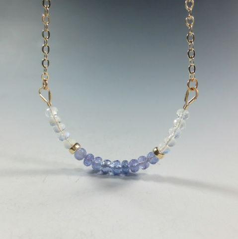 Rainbow,Moonstone,and,Tanzanite,Necklace,,14k,Gold,Filled,Accents,tanzanite necklace,rainbow moonstone necklace, 14k gold filled gemstone necklace, healing crystal jewelry, healing gemstone necklace, moonstone jewelry, tanzanite jewelry, tanzanite and gold necklace, tanzanite gemstone necklace,