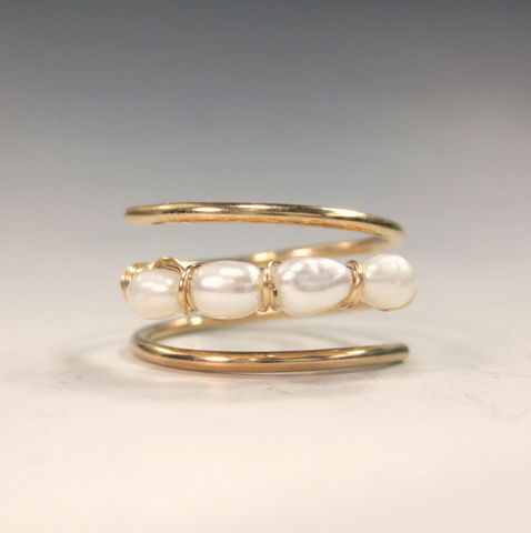 Fresh,Water,Pearl,Ring,in,14k,Gold-Fill, Multistone Ring,  birthstone jewelry,  adjustable ring,  birthstone ring,  anniversary gift , pearl , pearl ring, gold pearl ring  june birthstone,  june birthstone ring , pearl jewelry,  freshwater pearl , pearl birthstone , 3rd anniversary
