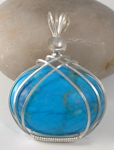 Blue,Howlite,Gemstone,Criss,Cross,Wire,Wrapped,Pendant,Jewelry,Wire_Wrapped,healing,turquoise,pendant,howlite,blue,wire_wrapped,argentium,sterling,silver,Argentium sterling silver wire,sterling silver smooth round bead,30x22mm Turquoise blue Howlite cabochon