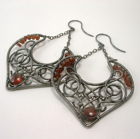 Red,Garnet,Argentium,Sterling,Wire,Wrapped,and,Coiled,Gemstone,Earrings,Jewelry, Earrings, Metalwork,  red, garnet, argentium, artisan, sterling, silver, gemstone, earrings, dangle,