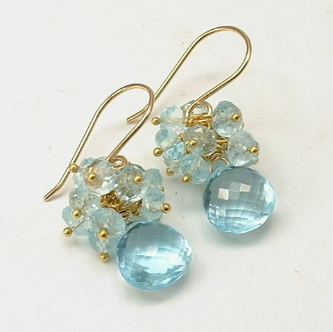Blue,Topaz,Gold,Filled,and,Vermeil,Cluster,Earrings,,December,Birthstone,,4th,Anniversary,blue, topaz, healing, crystal, december, birthstone, gold, gold filled, vermeil, anniversary, julie lloyd