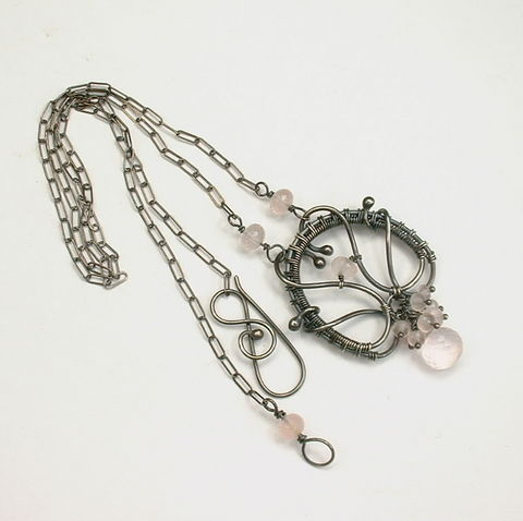 Soft,Rose,Quartz,Wire,Wrapped,Argentium,Sterling,Oxidized,Necklace,healing, energy, rose quartz, pink, gemstone, healing crystal jewelry, wire, woven, argentium, sterling