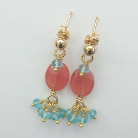 Peach,Rhodochrosite,Teal,Blue,Apatite,Vermeil,Gold,Filled,Post,Earring,healing, energy, gold filled, gold fill, 14k gold, rhodochrosite, apatite, chakra, gemstone, heart, crystal healing