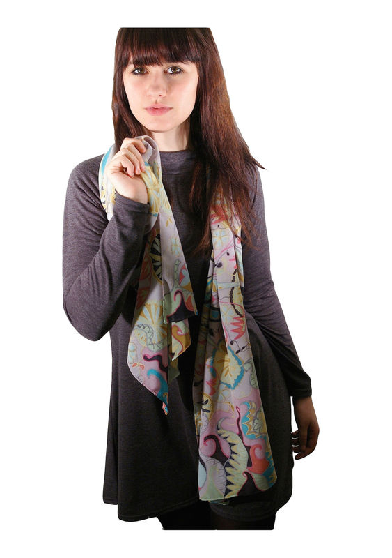 Ophelia Lilac - Hand painted silk scarf - product images  of