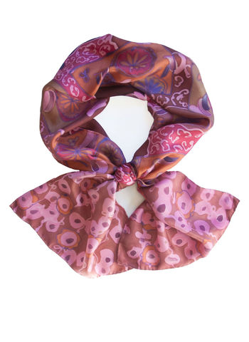 Cora,Marron,-,luxury,,twill,,patterned,designer,art,scarf,hand painted silk scarf, brown silk scarf, luxury gift, patterned silk scarf, brown and pink, designer, wearable art