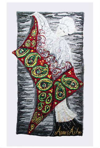 Mistress,,Your,Shawl,textile art, wall hanging, hooked textile, hooked, silk, velvet, wool