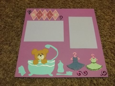 Scrapbook,page,tear,bear,bathtime,scrapbook, tear bear, paper piece, bath