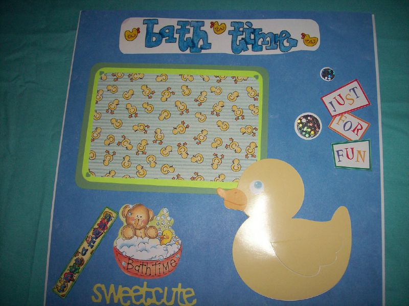 Duck bathtime scrapbook page - product images  of