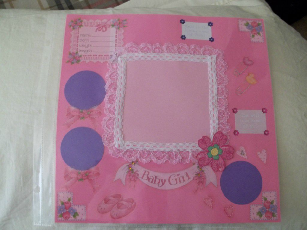 Scrapbook ideas for baby girl - Baby Girl Welcome Scrapbook Page