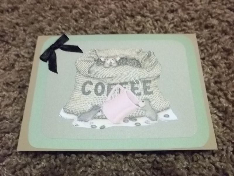 Coffee time house mouse stamped series greeting card - product images