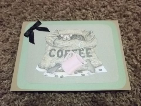 Coffee,time,house,mouse,stamped,series,greeting,card, blank card, greeting card, encourage