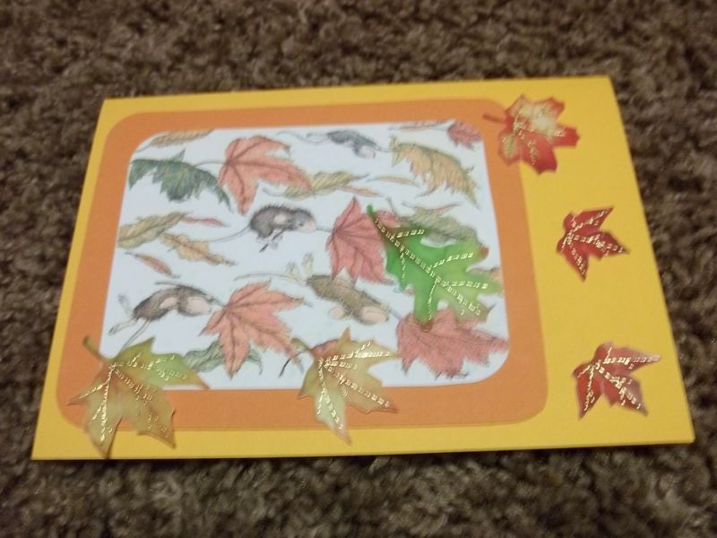 Windy leaves house mouse greeting card premade scrapbook