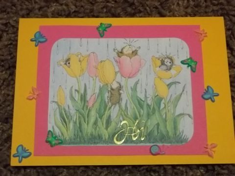 Spring,flowers,mouse,greeting,card, blank card, greeting card, encourage, thank you
