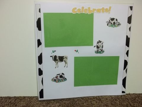 Cows,party,premade,scrapbook,page,cows, scrapbook, country
