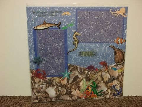 Under,the,sea,premade,scrapbook,page, scrapbook, fish, shell, coral, scuba