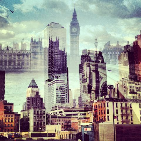 New,York,+,London,No.,65,photograph, double exposure, new york, london