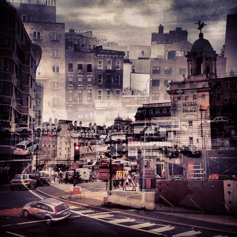 New,York,+,London,No.,24,photograph, double exposure, new york, london