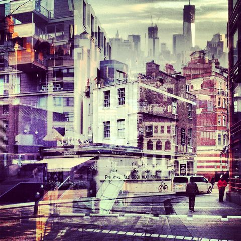 New,York,+,London,No.,59,photograph, double exposure, new york, london
