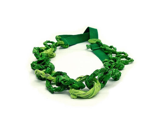 DOUBLE,GREEN,-,chains,collection,chain necklace, paper necklace, contemporary jewelry, contemporary paper jewelry, handmade jewelry