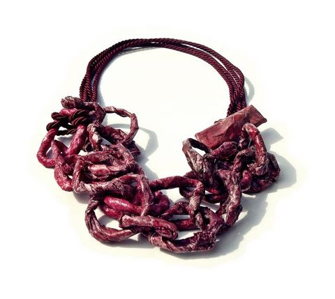 BURGUNDY,-,chains,collection,chain necklace, paper necklace, contemporary jewelry, contemporary paper jewelry, handmade jewelry