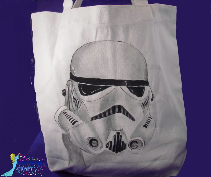Star Wars STORM TROOPER  tote, bag, or shopping bag- get your name on it for free- HANDPAINTED not screened - product images  of
