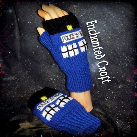 Doctor,Who,Fingerless,Gloves,TarDis,style,police,box,Knitted,Geekery,Clothing,fingerless_gloves,knitted,fingerless,gloves,wrist_warmers,doctor_who,dr_who,tardis,sci_fy,science_fiction,police_box,onfire,texting,yarn,whovian