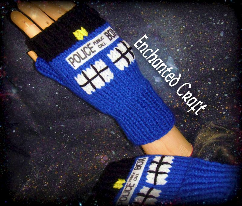 Tardis Gloves Knitting Pattern : Doctor Who Fingerless Gloves TarDis style police box Knitted - Enchanted Craft