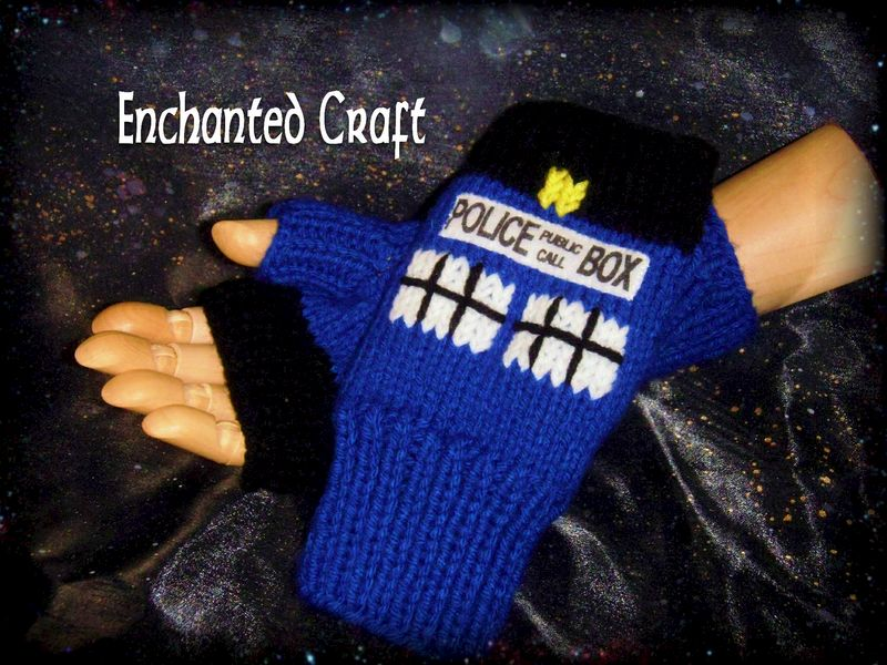 Doctor Who Fingerless Gloves TarDis style police box Knitted - Enchanted Craft