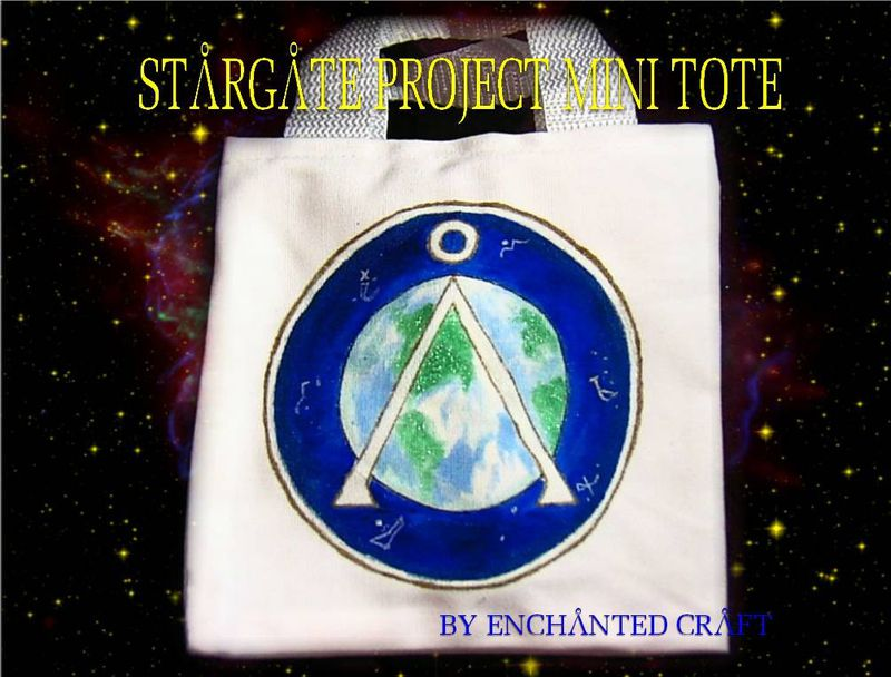 hand painted STARGATE EARTH glyph tote- mini, bag, - get your name on it - product images  of