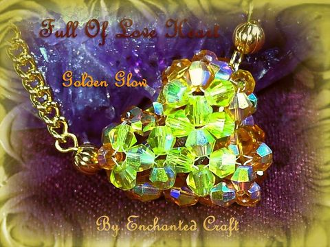 Golden,Glow,Full,of,Love,beaded,celestial,crystal,heart,necklace,weddings,jewelry,glass,love,swarovski,romantic,gold,valentine,puffed_heart,celestial_crystal,swarovski_crystal,fireline,gold_plated_chain,lobster_claw_clasp