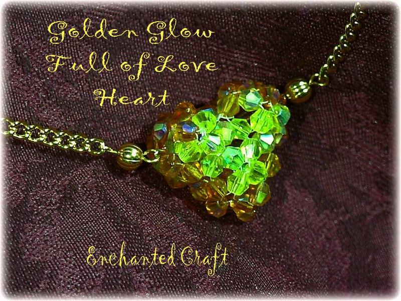 Golden Glow Full of Love beaded celestial crystal heart necklace - product images  of