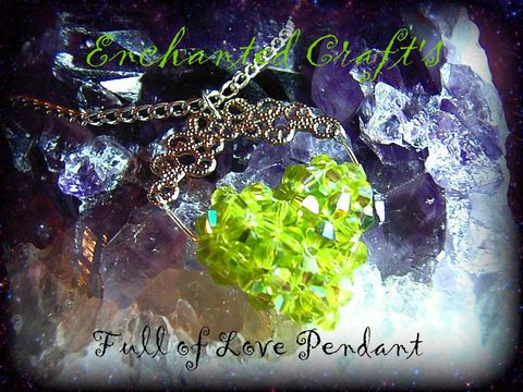 peridot,color,Full,of,Love,beaded,celestial,crystal,pendant,heart,jewelry,necklace,beadwork,silver,love,green,lime,wedding,romantic,valentine,celestial_crystal,silver_plated_chain