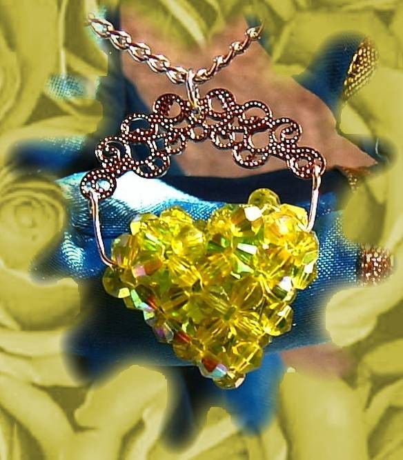 peridot color Full of Love beaded celestial crystal pendant heart - product images  of