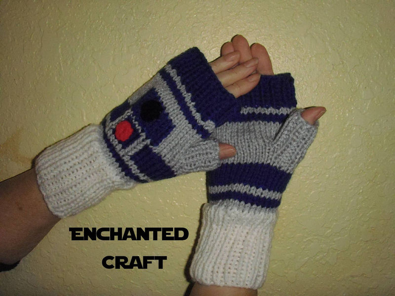 Knitted Star Wars R2-D2 Fingerless Gloves, droid - product images  of