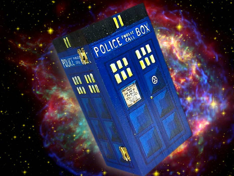dr Who tArDiS Box- painted wooden chest- glows in the dark- get your name on it for FREE - product images  of