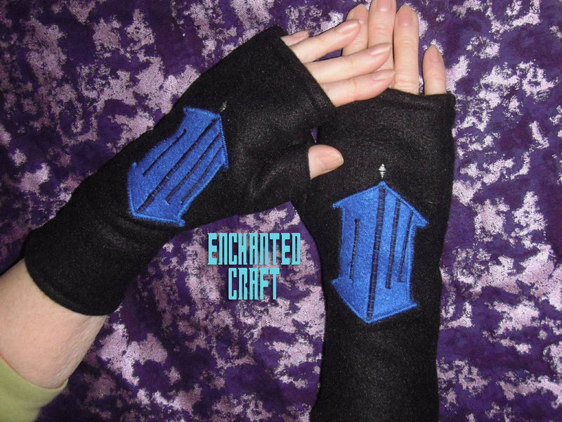 Black Fleece Dr Who fingerless gloves TArdiS Style symbol with thumbs - product images  of