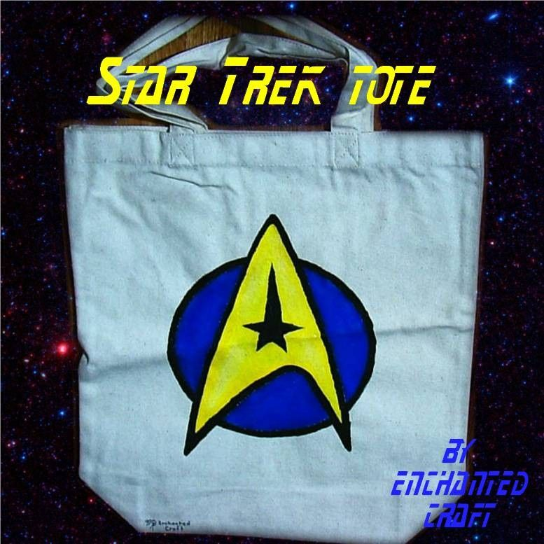 STAR TREK tote with Logo- hand painted - product images  of