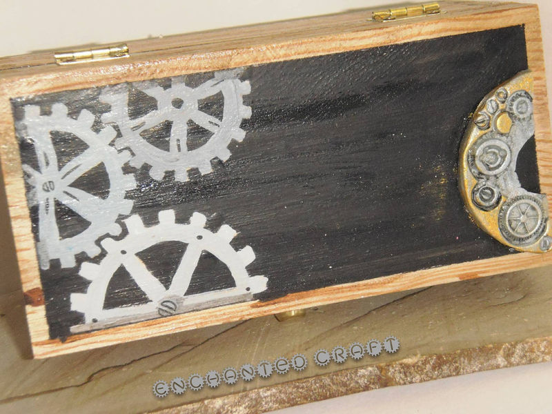bonnie Steampunk wood box with polymer clay and hand painted details - product images  of