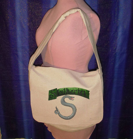 SLYTHERIN,Messenger,bag-,hand,painted,fully,lined,Lined,Canvas,for,Harry,Potter,fans,Bags_and_Purses,Bag,Purse,computer_bag,laptop_bag,hand_sewn,Sewn,gadget,harry_potter,onfire,slytherin,geekery,canvas,zipper,paint