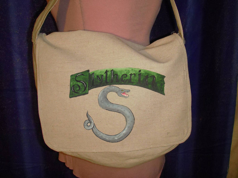 SLYTHERIN Messenger bag- hand painted fully lined Lined Canvas for Harry Potter fans - product images  of