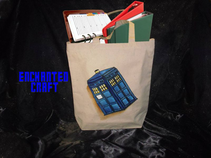 Whovian TARDIS tote, bag, or shopping bag- get your name on it for free - product images  of