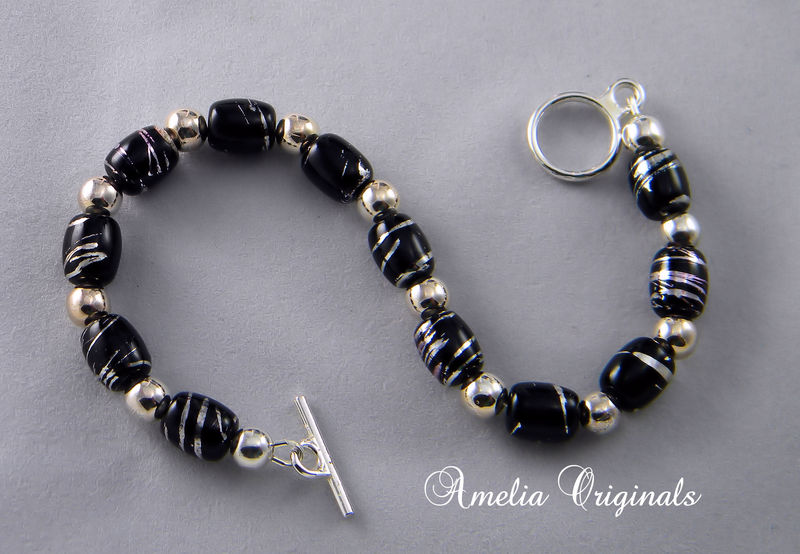 Black & Silver Glass & Metal Beaded Necklace, Earring ...