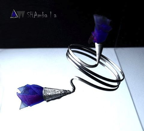 Narcondan,|,SILVER,WRAPPED,BRACELET,With,Purple,ORGANZA,Silver Wrapped Bracelet, organza bracelet, artisan jewellery online