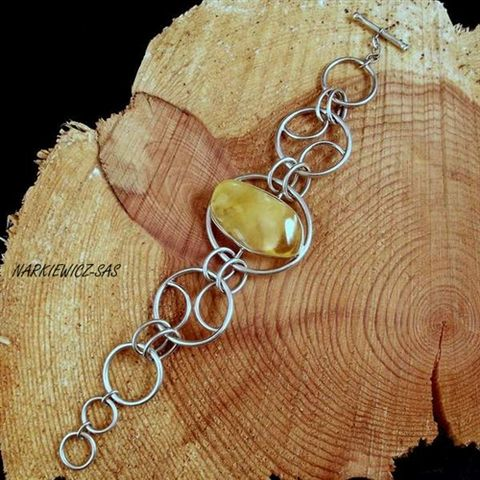 Silver,Chain,Bracelet,With,Amber,Silver Chain Bracelet With Amber, amber jewellery store