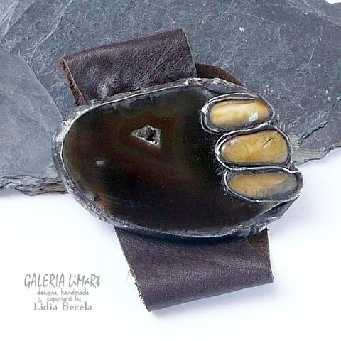 Amber,On,Agate,|,Leather,Cuff,Bracelet,Leather Cuff Bracelet With Amber, stained glass jewellery
