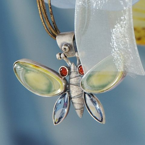 Flying,I,|,SILVER,PENDANT,With,ZIRCON,&,AMBER,SILVER Pendant with Zircon, butterfly silver pendant, handmade jewellery