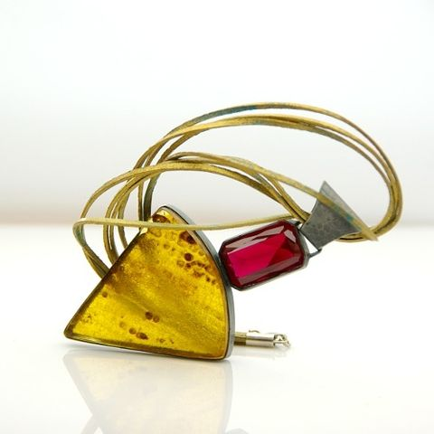Foucault's,pendulum,|,SILVER,PENDANT,With,AMBER,&,SYNTHETIC,RUBY,SILVER Pendant With Amber, ARTISAN Jewellery