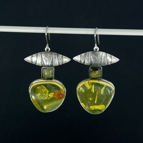 Totems,II,|,SILVER,DROP,EARRINGS,With,AMBER,&,LABRADORITE,Silver Drop Earrings With Amber With Labradorite, Handmade Jewellery